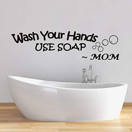 huangyuzzzz Wandaufkleber Für Wohnzimmer Bad Wasserdicht Aufkleber Waschen Sie Ihre Hände Verwenden Sie Seife Worte Von Mama Tapete Wanddekor Wohnkultur -