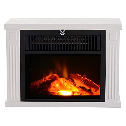 Homcom Chimenea Eléctrica Portátil Estufa Calefactor Termostato Ajustable 600/1200W Llama Decorativa 34x17x25cm