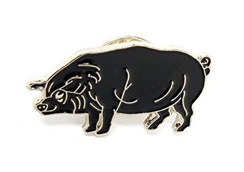 Pig Piggy Schweinchen Ferkel Farm Hog Farmyard Animal schwarz Metall Emaille Brosche   Hohe Qualität Metall Emaille Pin Badge Revers Brosche Neuheit zum Sammeln Geschenk Schmuck für Kleidung Shirt Jacken Mäntel Krawatte Hüte Kappen Taschen Rucksäcke