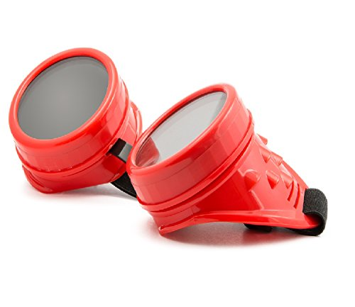 4sold (TM) Steampunk Antique Copper Cyber Goggles Rave Goth Vintage Victorian like Sunglasses all pictures (goggle red with free lensses and (Red Man Kostüme)