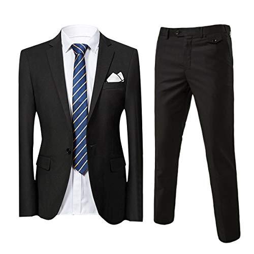 Slim Fit 2-Teilig Herren Anzug für Hochzeit Party schwarz Medium