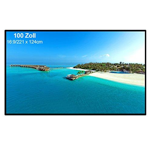 Excelvan - 100 Zoll Beamer Leinwand für Beamer Projektor (100 Zoll, 16: 9 Format, 221 cm x 124 cm, für HD Full HD, Heimkino, Klassenzimmer, Konferenz, Präsentation)