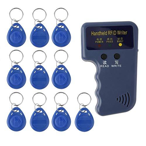 Preisvergleich Produktbild iUcar Hand-Kopierer / Verfasser 125KHz RFID / Leser / Duplizierer mit 10PCS Identifikations-Tags - Blau