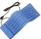ZQ666 Faltbare Silikon-Tastatur USB verdrahtete stumme Wasserdichte Rollup-Tastatur für PC Notebook Laptop 85 Tasten (Farbe : Blau, größe : 35x13cm)