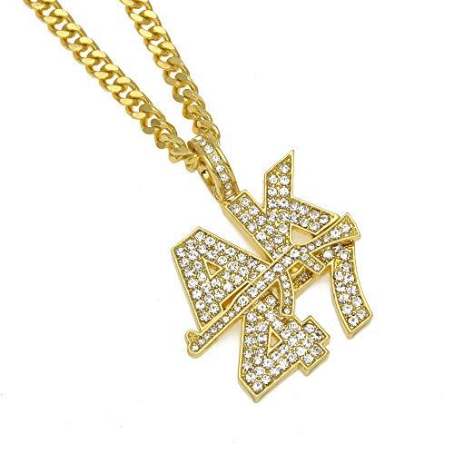 ut AK47 Gun Anhänger Submachine Halskette Kubanischen Kette Gold Silber Farbe Männer Frauen Schmuck,Gold ()
