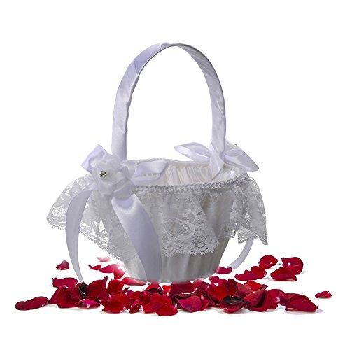 StageOnline Hochzeit Blumenkorb Weiß Satin bowknot Hochzeit Blumenmädchen Korb Perlen Strass Dekor