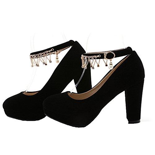 ENMAYER Femmes Suède Pearls Ceinture de Cheville Wedge Talons Sauts Round Toe Suede Platform Pompes Casual Shoes Noir#7