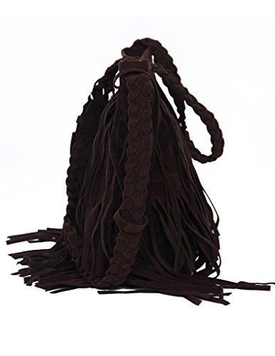 JOLLYCHIC femmes en Crochet avec pompon Vintage Sac à bandoulière avec sangle d'épaule Marron - Deep Brown