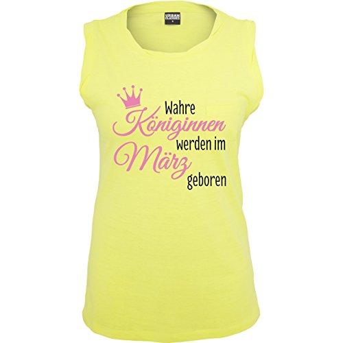 Geburtstag Wahre Königinnen werden im März geboren ärmelloses Damen TShirt  mit Brusttasche Neon Gelb