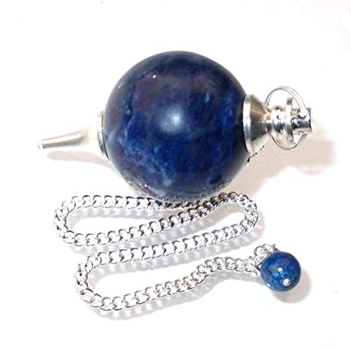 Pendolino sferico di pietra preziosa, pendolo di cristallo per radioestesia, rabdomanzia, divinazione e cristalloterapia (sodalite)