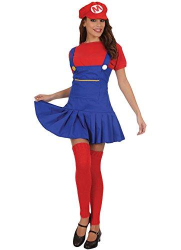 Unbekannt Erwachsener Damen Super Mario Klempner Kostüm