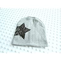 Baby Mütze grau mit schwarzen Stern ★★★