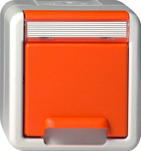 Gira 044630 Schuko Steckdose Beschriftungsfeld zusätzliche Sicherheitsversorgung Wassergeschützt Aufputz, grau-orange (Abdeckung Zusätzliche)