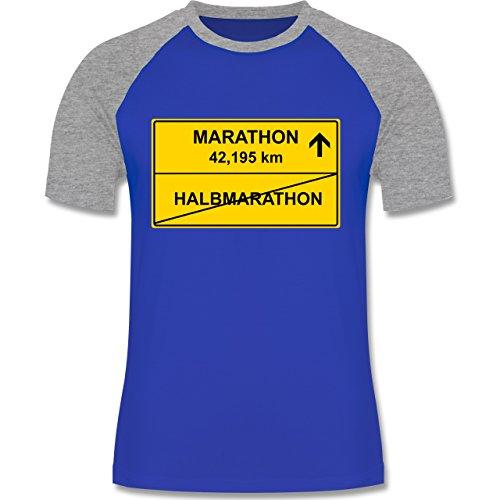 Laufsport - Marathon - zweifarbiges Baseballshirt für Männer Royalblau/Grau meliert