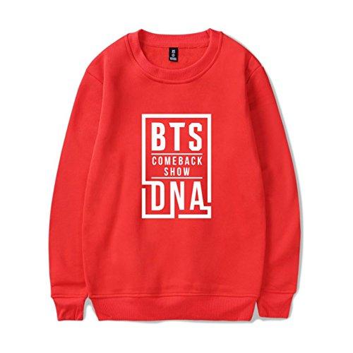 SIMYJOY Lovers DNA Felpe BTS KPOP Pullover Hip Hop Felpa Top per Uomo Donna Adolescente Rosso