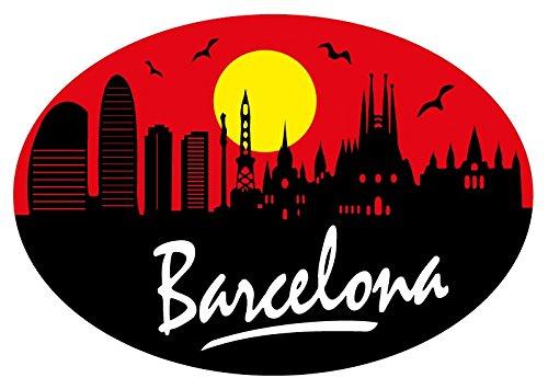 Pegatina Oval Perfil Barcelona 80x60 mm.
