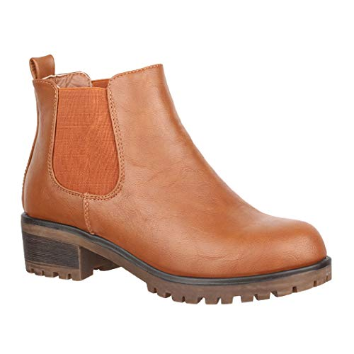Elara Botines de Mujer Chelsea Boots Chunkyrayan KA575sl Camel-37