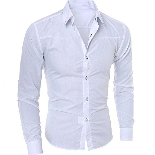 VEMOW Herbst Sommer Business Mann Mode Gedruckt Bluse Casual Täglichen Formalen Anlass Hemd Langarm Slim Shirts Tops(Weiß, 56 DE / 2XL CN) (Plaid Herren Sweatshirt Zip Kapuzen)