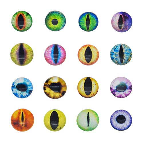 Cabochon aus Glas, rund, Drachen-Design, Katzenauge, für Puppen, Tieraugen oder Schmuckherstellung, 30 x 30 mm, 50 Stück