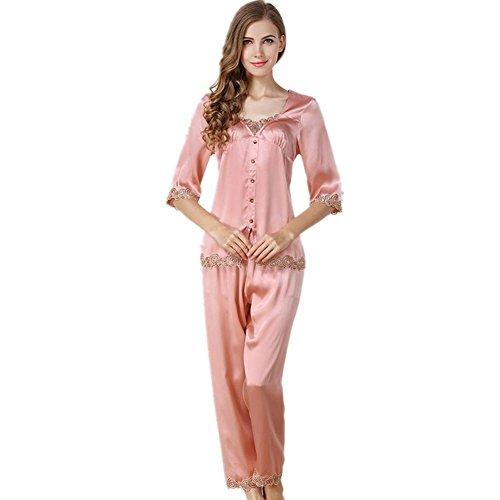 DMMSS Damen Edle Seide Pyjamas Zwei Sätze Seide Bad Anzug Seide Seide Reparatur Haus Kleidung 2-Teilige Sets , M (Kapuzen Erwachsene Kostüme Robe Lila)
