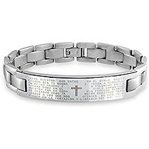 Bling Jewelry Mens Lords oración Padre Nuestro brazalete de identificación de acero inoxidable