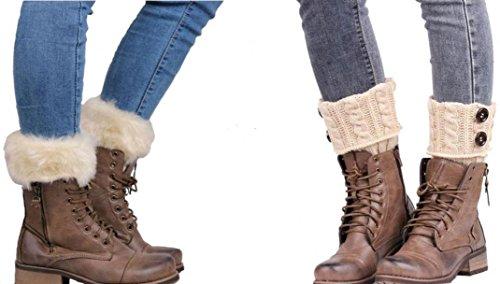 WODISON Bein Wärmer Kabel Knit Button Furry Stiefel Manschetten Socken für Damen (2 Paar) (Beige) (Damen Furry Stiefel)