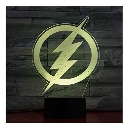 Busjk 3D Cartoon Anime Film Das Flash Logo Led Nachtlicht Illusion Decor Touch Sensor 7 Farbwechsel Nachtlampe (Flash-filme)