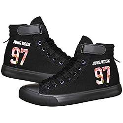 AILIENT BTS Amante Zapatos Classic Zapatillas Transpirables Suede/Canvas Zapatillas Altas Unisex Adulto BTS Zapatillas Deportivas de Malla Ligera para Mujeres y Hombres