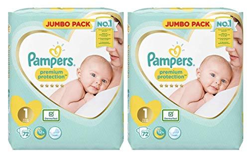 Pampers nouveau-né couches Taille 1 Premium Protection Giant Value Pack de 2 x 96 = 192 conçu spécialement pour votre Peau délicate de bébé