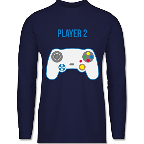 Shirtracer Partner-Look Familie Papa - Player 2 - Herren Langarmshirt Navy Blau