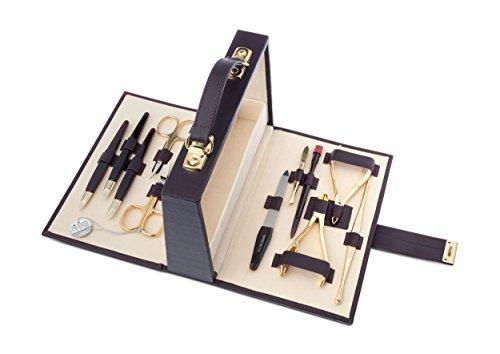 Maniküre-Set, Leder-Koffer mit Verschluss, bordeaux oder schwarz -