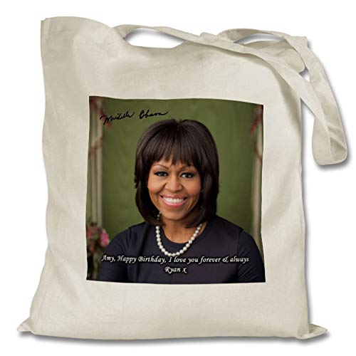 Star Prints UK Michelle Obama 1 Personalised Printed Tote Bag - Shopping - Shoulder - Tote Bag - Autographed Print (with Personalised Message)