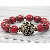 61d8b1fd849f Pulsera zen para mujer en perlas rojas en turquesa reconstituida y perla  plana en bronce antiguo