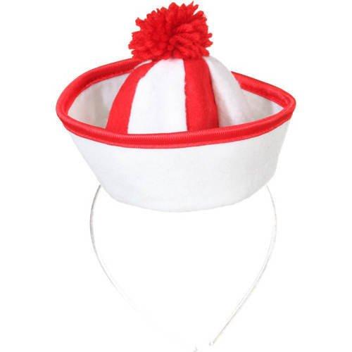 Hut Mini Matrose, rot/weiß (Haar Kostüm Matrose)