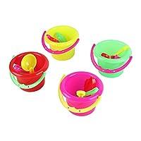 Greatangle 4pcs Novelty Mini Beach Toys Set Sand Pails Bucket with Shovel Rake Summer Pool Beach Sand Play Toys Gift for Children Kids