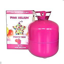 Pink Helium XXLHelium Ballongas Heliumflasche 420 Liter (0,42 m³), befüllen von ca. 50 Luftballons mit Ø23cm- leichtes Befüllen durch Knickventil - perfekt für deine Party, Hochzeit, Geburtstag, Feier