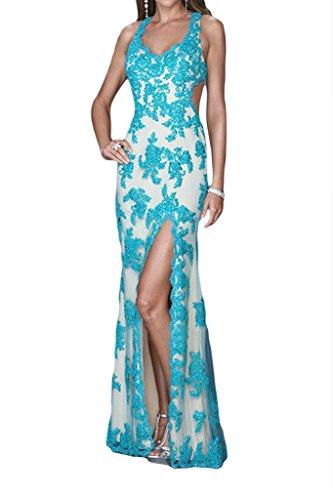 Promgirl House Damen Sexy Spitze Etui Traeger Abendkleider Partykleider Ballkleider Lang 2015 Blaugruen