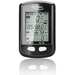 Ciclocomputador para bicicleta Posma DB2con Bluetooth, GPS, velocímetro, odómetro, altímetro, contador de calorías, pulsómetro, termómetro y control de ruta seguimiento, compatible con Strava, Ble 4.0, iPhone y Android