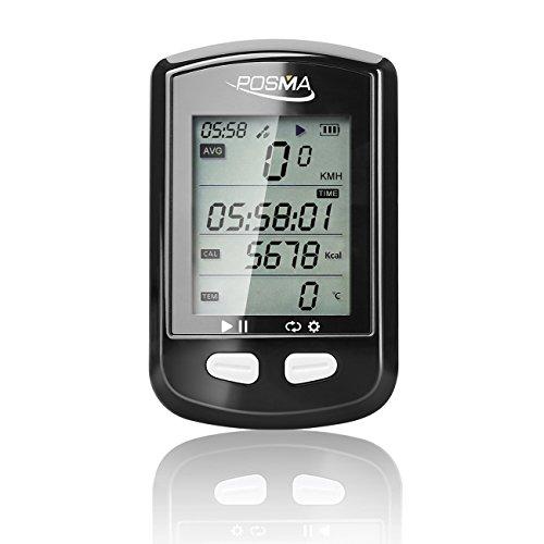 Posma DB2Bluetooth-Fahrradcomputer mit GPS, Tacho, Kilometerzähler, Höhenmesser, Kalorien, Herzfrequenz, Trittfrequenz, Temperatur, Streckenaufzeichnung, ANT+, unterstützt Strava, BLE4.0Smartphone, iPhone/Android App