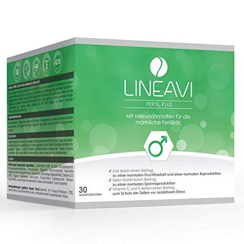 LINEAVI Fertil Plus, für Fertilität und Kinderwunsch, mit Zink für die Fruchtbarkeit und Selen für die Spermaproduktion, mit Q10, L-Carnitin und Omega-3, in Deutschland hergestellt, 30 Tagesportionen