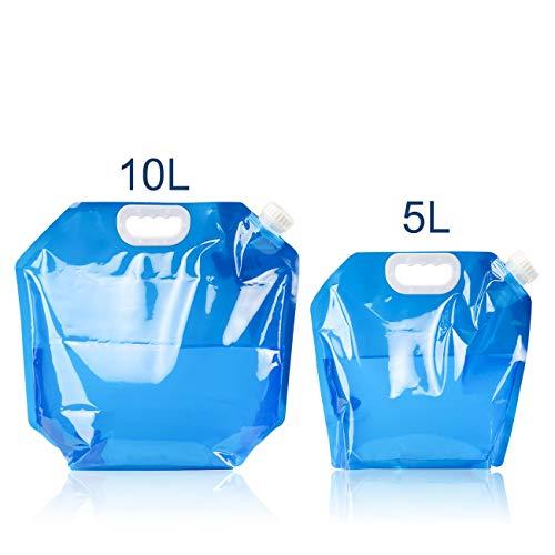 GWHOLE Wasserkanister Wasserbehälter Faltbar BPA-Frei Wasserbeutel für Camping Outdoor, 5L + 10L