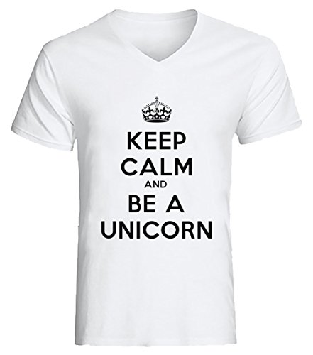 Keep Calm And Be A Unicorn Uomo V-Collo T-shirt Bianco Cotone Maniche Corte White Men's V-neck T-shirt