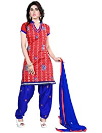 Jheenu Women's Red Cotton anarkali Embroidered Unstitched Dress Material