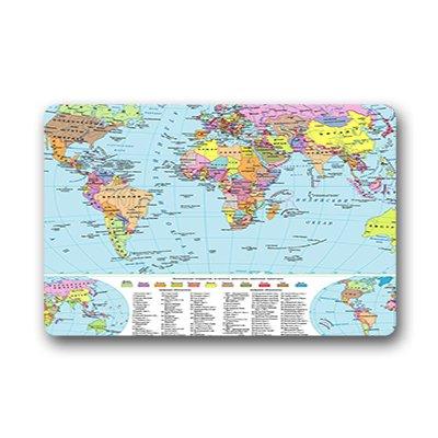 """Dalliy Mappa del mondo Zerbino Personalizzato Doormat 18""""x30"""" about 46cmx76cm"""