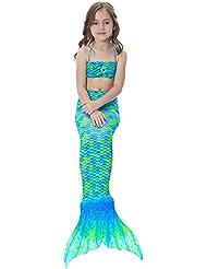 Alxcio 3 Piece Filles Queue de Sirène Mermaid Tail Tops Panties pour la Natation Baignable Nager Costume Enfants Maillot De Bain