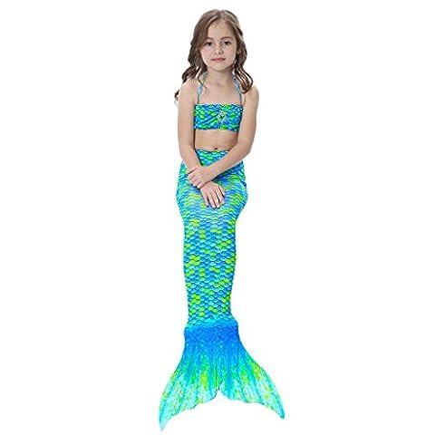 Mermaid Costume - Alxcio 3 Piece Filles Queue de Sirène