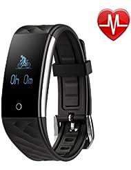 lypumso Fitness pulsera con Pulso Bluetooth Fitness activität Tracker podómetro reloj de pulsera con frecuencia cardíaca/Dormir Análisis/Contador de Calorías/SMS SNS Despertador Vibración Para Android y iOS teléfonos móviles