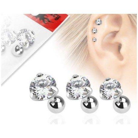 Lot De Piercing Cartilage - Lot de 3 piercing cartilage gemme rond