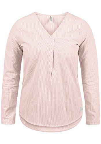 BlendShe Stacey Damen Lange Bluse Langarm Mit Streifen-Muster Und V-Ausschnitt Aus 100% Baumwolle Loose Fit, Größe:M, Farbe:Veleid Rose Stripe (20405) Original Tiger Stripe