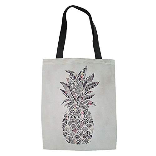 FANGDADAN Canvas Tote,Frauen Faltbares Legere Umhängetaschen Obst Ananas Bedruckt Handtasche Für Damen Jugend Mädchen Schultaschen Student Top-Handle Tasche (Obst Jugend)